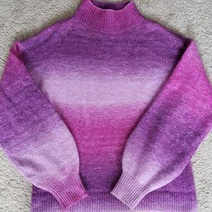 Mock turtleneck pink/purple ombre sweater